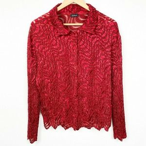 Komarov Red Button Up Long Sleeve micro pleat Top
